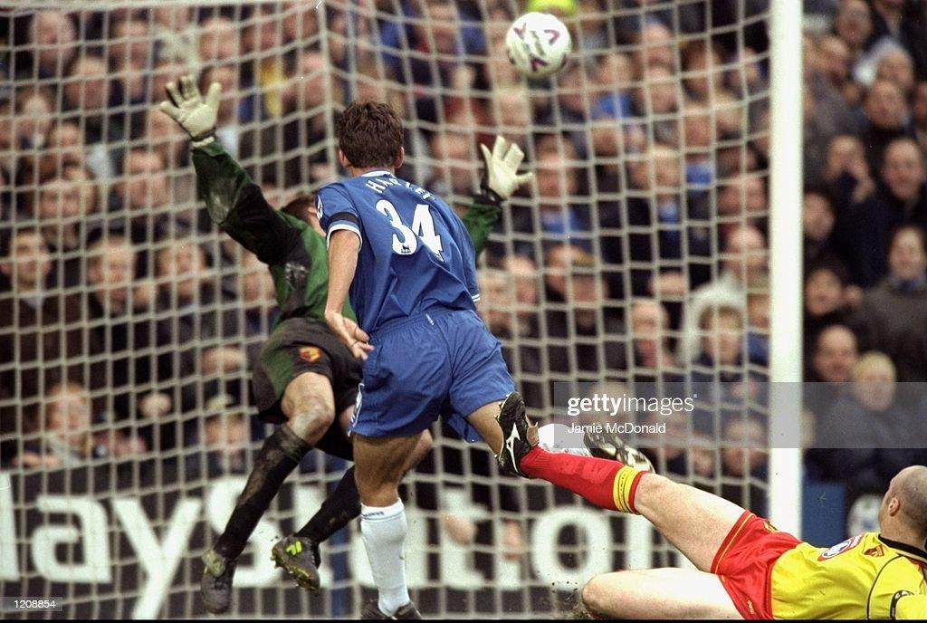 Jon Harley scores Chelsea's winner against Watford during the FA Carling Premiership match at Stamford Bridge in London. Chelsea won 2-1. \ Mandatory Credit: Jamie McDonald /Allsport