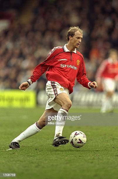 Jordi Cruyff of Manchester United on the ball against Wimbledon during the FA Carling Premiership match at Selhurst Park in London The game ended 22...