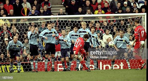 Juninho of Middlesbrough shoots from a free kick during the FA Carling Premiership game against Leeds United played at The Riverside Stadium in...