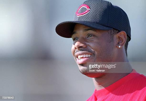 Ken Griffey Jr #30 of the Cincinnati Reds smiles on the field during Spring Training at Ed Smith Stadium in Sarasota Florida Mandatory Credit Scott...