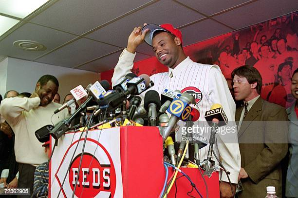 Ken Griffey Jr of the Cincinnati Reds talks during a press conference at Cinergy Field in Cincinnati Ohio Mandatory Credit Ezra O Shaw /Allsport