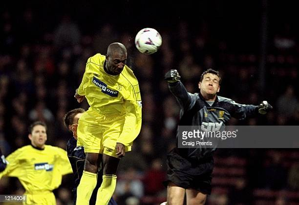 Kevin Campbell heads Everton's first goal during the FA Carling Premier League match against Wimbledon played at Selhurst Park in London Everton won...