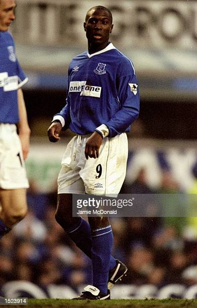 Kevin Campbell of Everton in action during the AXA Sponsored FA Cup Sixth Round game between Everton and Aston Villa at Goodison Park in Liverpool...