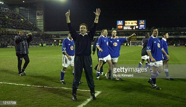 Manager Martin O''Neill celebrates after Leicester win's 1-0 during the Leicester City v Aston Villa Worthington Cup semi-final second leg at Filbert...