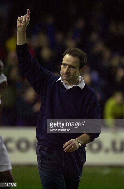 Manager Martin O''Neill celebrates after Leicester's 10 victory in the Leicester City v Aston Villa Worthington Cup semifinal second leg at Filbert...