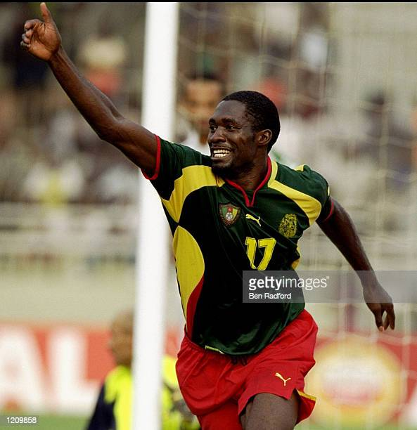 Marc Vivien Foe of Cameroon in action in the African Nations Cup game against Algeria played in Accra Ghana The match ended 21 to Cameroon Mandatory...