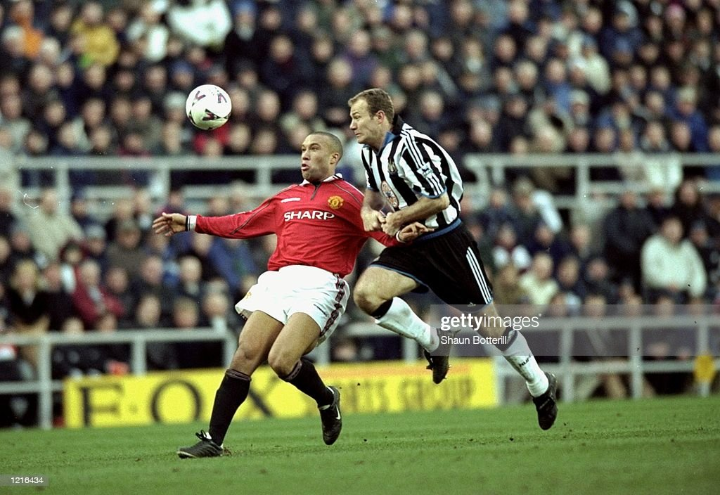 Mikael Silvestre of Manchester United battles with Alan Shearer of Newcastle United during the FA Carling Premiership match at St James's Park, Newcastle. Newcastle won the game 3-0. \ Mandatory Credit: Shaun Botterill /Allsport