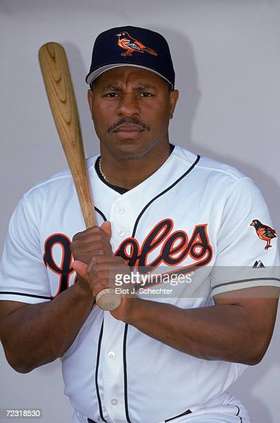 Outfielder Albert Belle of the Baltimore Orioles poses for a studio portrait during Spring Training Photo Day in Ft Lauderdale Florida Mandatory...