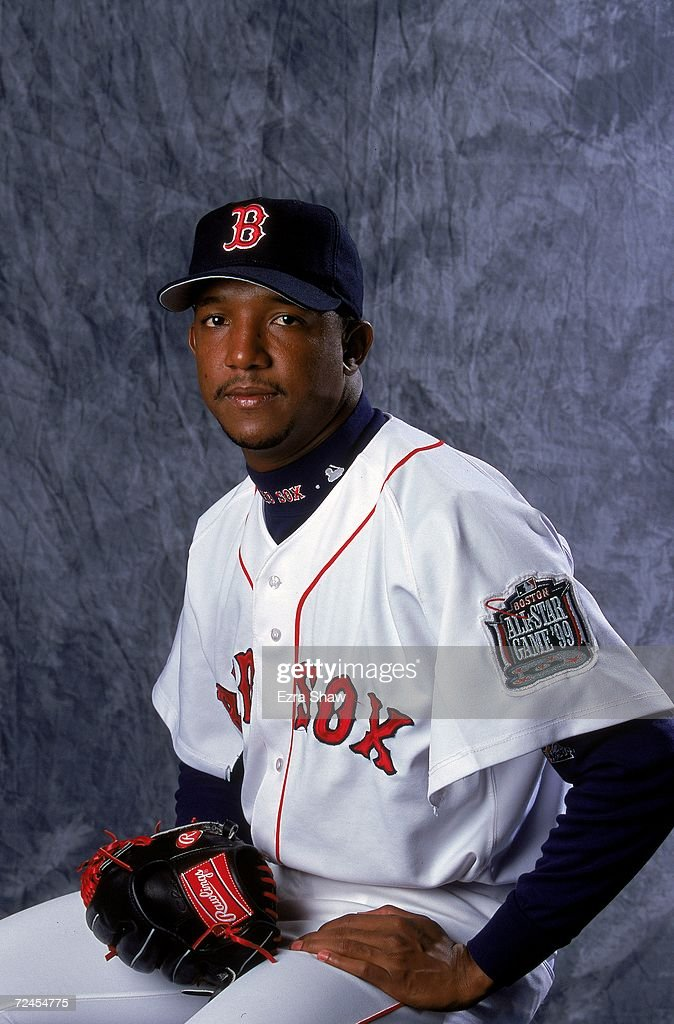 Pitcher Pedro Martinez #45 of the Boston Red Sox poses for a studio portrait during Spring Training Photo Day in Fort Myers, Florida. Mandatory Credit: Ezra O. Shaw /Allsport