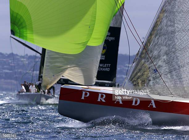 Prada round the top mark ahead of AmericaOne in the last race of the Louis Vuitton Finals on the Hauraki Gulf,Auckland New Zealand.Prada will now...