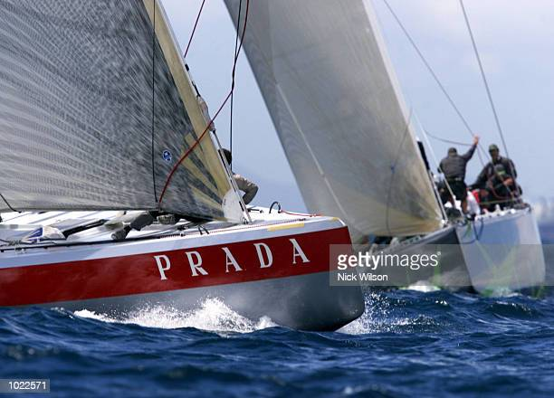 Prada rounds the bottom mark ahead of AmericaOne during race eight of the Louis Vuitton Finals with Prada winning by 32 seconds and level 4-4 in the...
