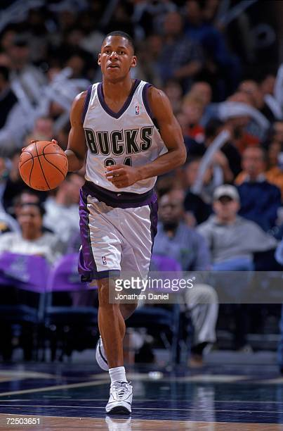 Ray Allen of the Milwaukee Bucks dribbles the ball down the court during a game against the Indiana Pacers at the Bradley Center in Milwaukee...