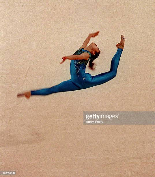 Rieko Matsunaga of Japan in action during the Floor Exercise at the International Gymnatics Challenge held at the Sydney Superdome Homebush Sydney...