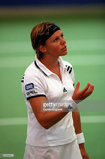 Sabine Applemans of Belgium appeals to the umpire on a line decision during the Thalgo Australian Womens Hardcourt Championship on the WTA Sanex tour...