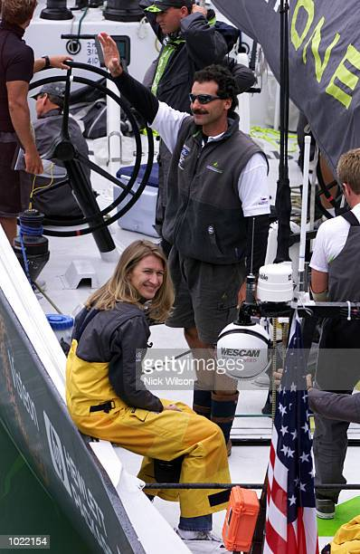 Steffi Graf of Germany and Paul Cayard of AmericaOne onboard the boat today when Graf raced as 17th person on AmericaOne in race six of the Louis...