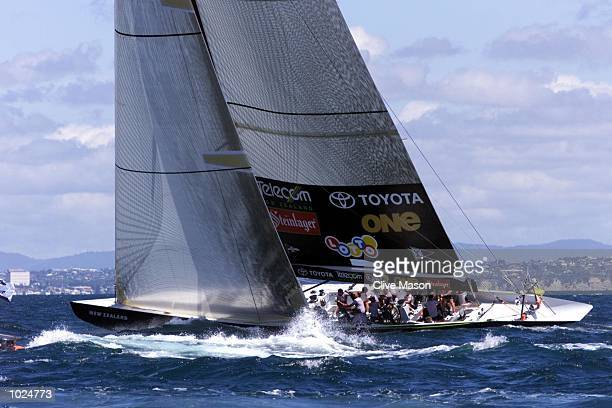 Team New Zealand lead Prada up the first beat during race one of the America's Cup on Hauraki Gulf Auckland New ZealandTeam New Zealand went onto win...