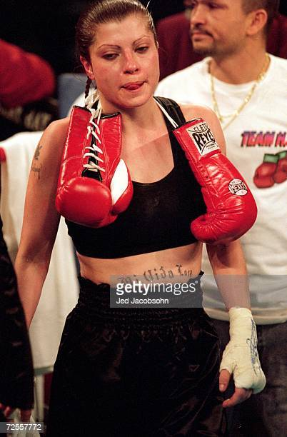 Terri Cruz walks into the ring during the Super Flyweight Match against Pamela Barker at the Mandaley Bay in Las Vegas Nevada Mandatory Credit Jed...