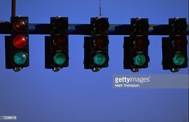 The start lights during Formula One winter testing at Jerez in Spain Mandatory Credit Mark Thompson /Allsport
