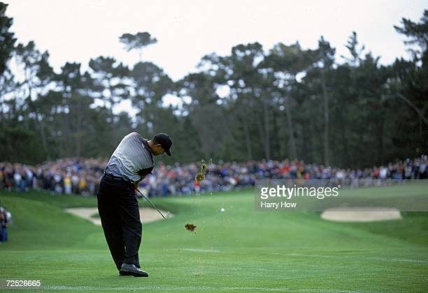 Tiger Woods chips to the green during the AT&T Pebble Beach Pro - AM at Poppy Hills Golf Course in Pebble Beach, California.. Mandatory Credit: Harry...