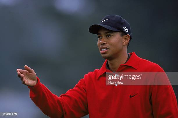 Tiger Woods motions on the course during the AT&T Pebble Beach Pro - AM at Spyglass Golf Course in Pebble Beach, California.. Mandatory Credit: Harry...