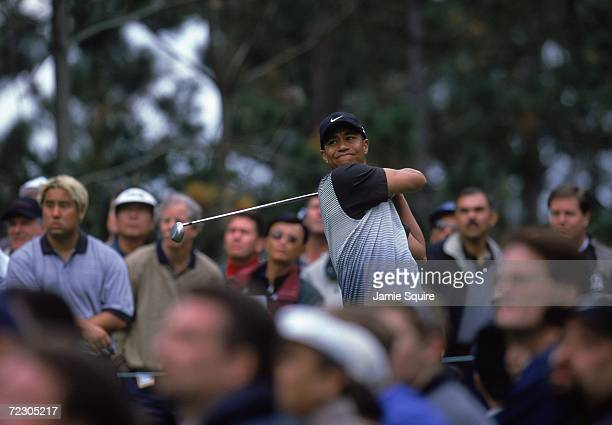 Tiger Woods tees off during the AT&T Pebble Beach Pro - AM at Poppy Hills Golf Course in Pebble Beach, California.. Mandatory Credit: Jamie Squire...