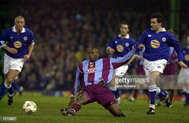 Ugo Ehiogu of Villa in action during the Leicester City v Aston Villa Worthington Cup semifinal second leg at Filbert Street Leicester Mandatory...