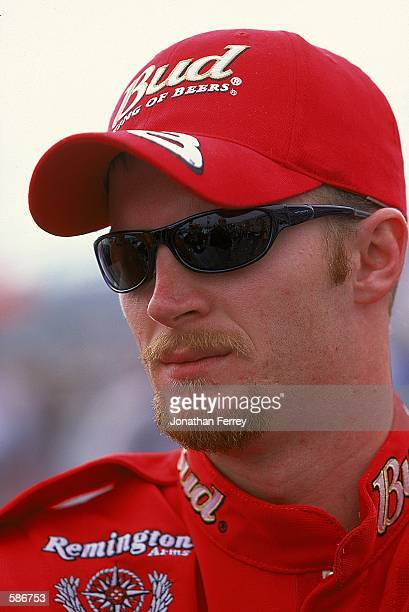 A close up of Dale Earnhardt Jr who drives the Chevy Monte Carlo for Dale Earnhardt Inc as he looks on during the Daytona 500 Speedweeks part of the...