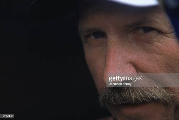 A close up of Dale Earnhardt who drives the Chevy Monte Carlo for Richard Childress Racing looking out during the Daytona 500 Speedweeks part of the...