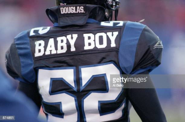 A close up of Haven Fields of the New York/New Jersey Hitmen nickname and jersey during the game against the Birmingham Bolts at the Giants Stadium...