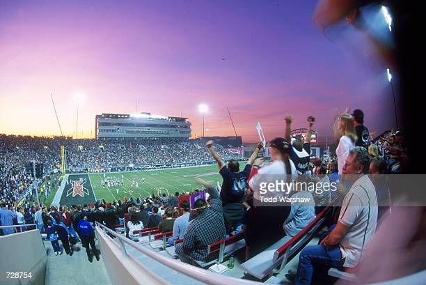 A general view from the stands of the XFL game between the Las Vegas Outlaws and the New York/New Jersey Hitmen at Sam Boyd Stadium in Las Vegas...