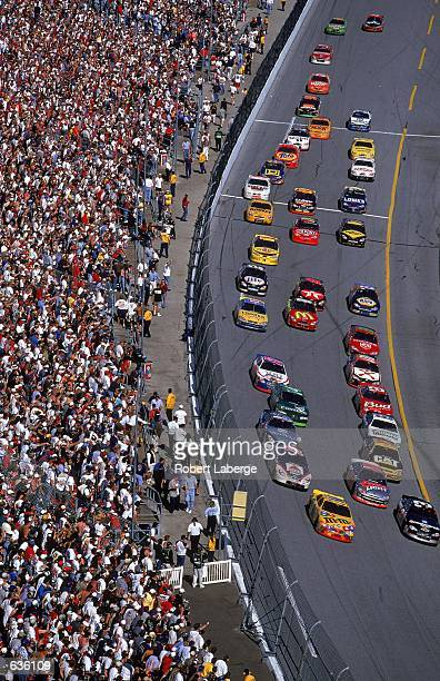 A general view of Dale Earnhardt leading the pack during the Daytona 500 Speedweeks part of the NASCAR Winston Cup Series at the Daytona...