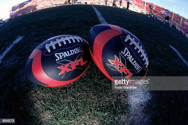 A general view of official XFL Footballs during the game between the New York/New Jersey Hitmen and the Las Vegas Outlaws at the Sam Boyd Stadium in...