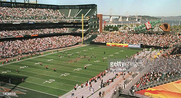 A general view of Pac Bell Park during the XFL game between the Los Angeles Xtreme and San Francisco Demons in San Francisco California The Demons...