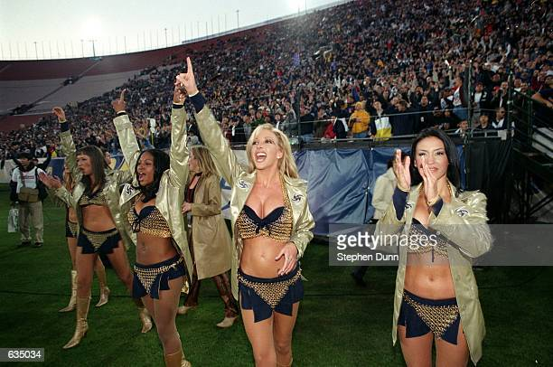 A general view of the Los Angeles Xtreme cheerleaders performing during the game against the Chicago Enforcers at the LA Coliseum in Los Angeles...