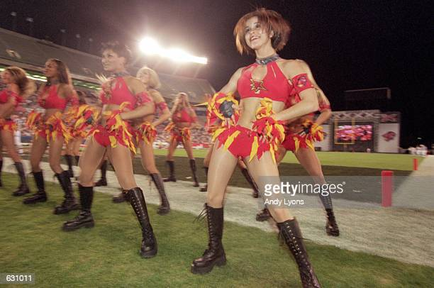 A general view of the Orlando Rage cheerleaders performing during the game against the San Francisco Demons at the Citrus Bowl in Orlando Florida The...