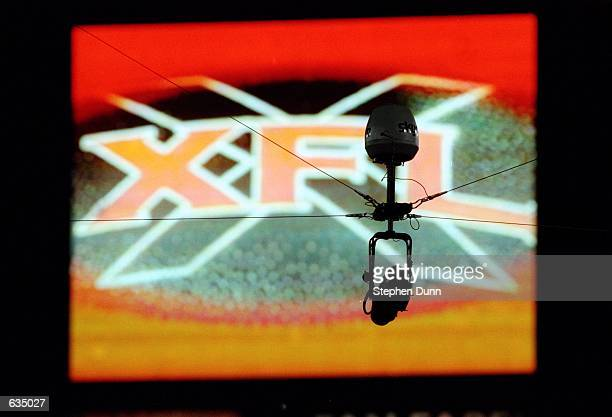 A general view of the XFL's official SkyCam during the game between the Los Angeles Xtreme and the Chicago Enforcers at the LA Coliseum in Los...