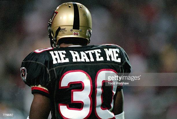 A rear view of Rod Smart of the Las Vegas Outlaws walking on the field during the game against the New York/New Jersey Hitmen at the Sam Boyd Stadium...
