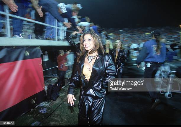 A view of the XFl cheerleaders as they walk off the field during the game between the Las Vegas Outlaws and the New York/New Jersey Hitmen at the Sam...