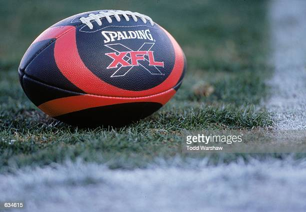 A view of the XFL football taken on the field before the game between the Las Vegas Outlaws and the New York/New Jersey Hitmen at the Sam Boyd...