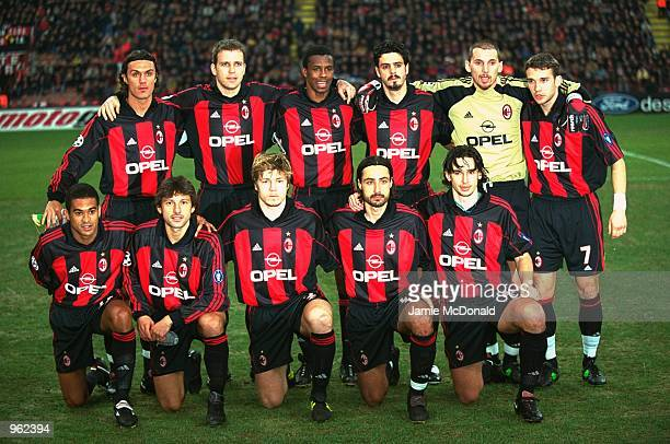 AC Milan team group before the UEFA Champions League Group match against Paris St Germain played at the San Siro in Milan Italy The match ended in a...