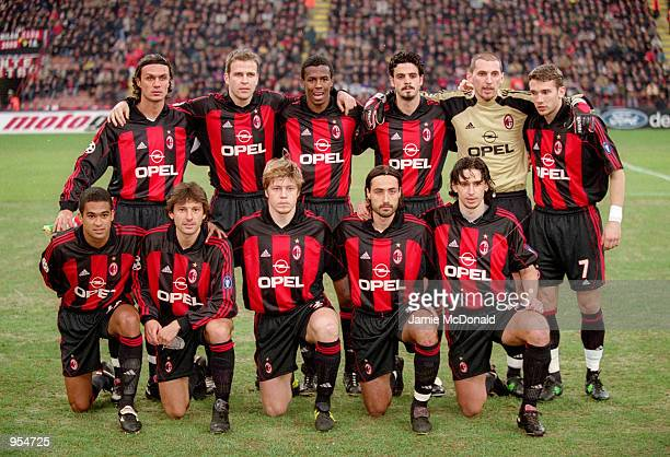 AC Milan team lineup before the UEFA Champions League Group B match against Paris St Germain played at the San Siro in Milan Italy The match ended in...