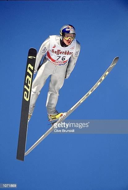 Adam Malysz of Poland in action in the ski-jump individual K-90 practice session during the FIS Nordic World Ski Championships held in Lahti,...