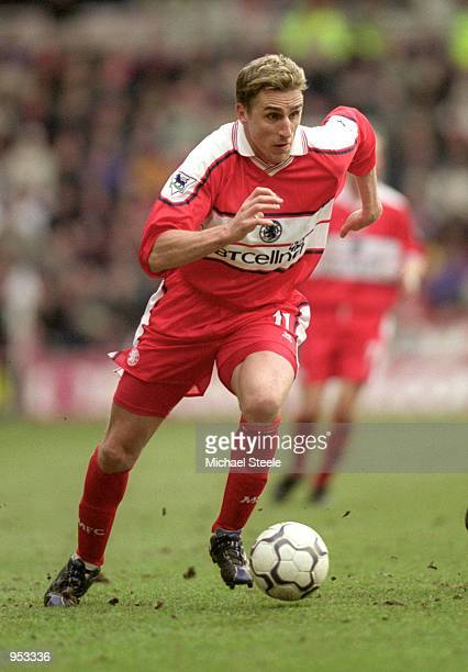 Alen Boksic of Middlesbrough in action during the FA Carling Premiership match against Southampton at the Riverside Stadium in Middlesbrough,...