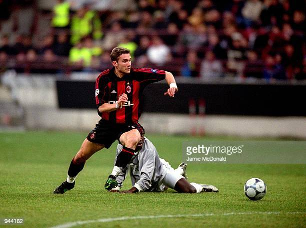 Andrei Shevchenko of AC Milan looks to run with the ball and cause defenders problems during the UEFA Champions League Group B match against Paris St...