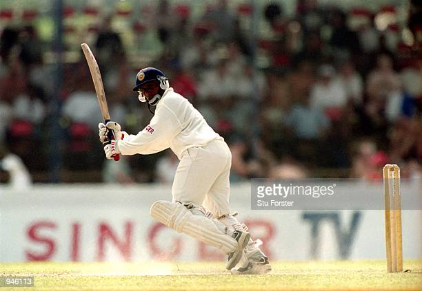 Aravinda de Silva of Sri Lanka during his knock of 106 in the First Test match against England played at the Galle International Stadium in Galle Sri...
