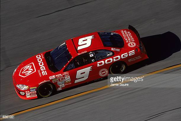 Bill Elliott who drives the Dodge Intrepid for Everham Motorsports races down the fairway during the Daytona 500 Speedweeks part of the NASCAR...
