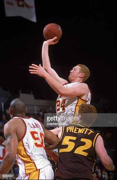 Brian Scalabrine of the Arizona State Sun Devils takes a shot during the game against the University of Southern California Trojans at the Los...