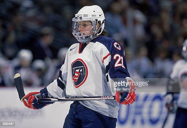 Cammi Granato of the USA holds her hockey stick during the game against Canada at the 2001 Womens Challenge at the Pepsi Center in Denver, Colorado....