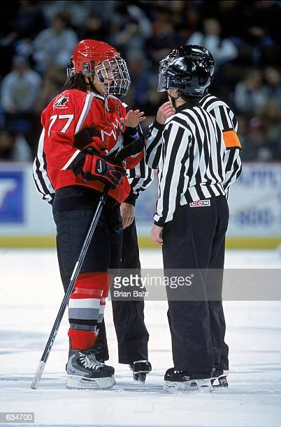 Cassie Campbell of Team Canada talks to the referee during the 2001 Women's Challenge Game against USA at the Pepsi Center in Denver Colorado The USA...