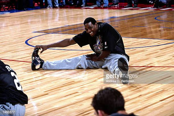 Chris Webber of the Sacramento Kings during practice before the 2002 NBA All Star Game at the First Union Center in Philadelphia Pennsylvania NOTE TO...